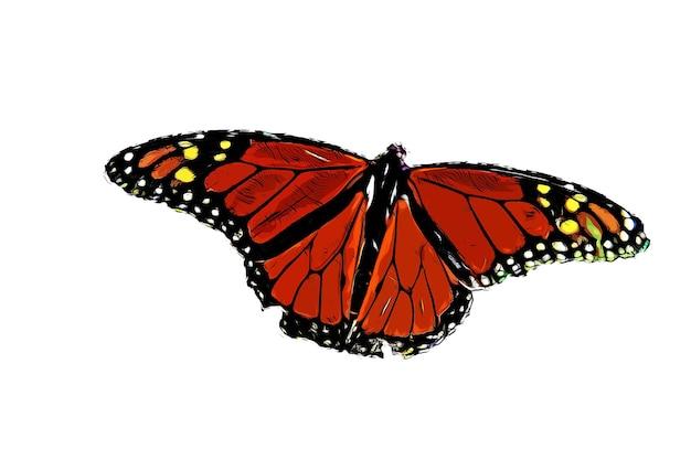 Ilustração em aquarela de borboleta vermelha