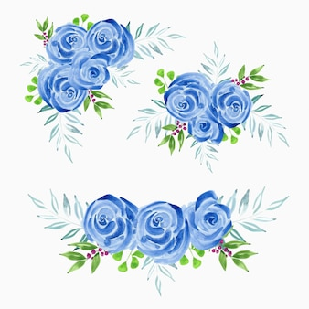 Ilustração em aquarela de buquê de flor azul rosa