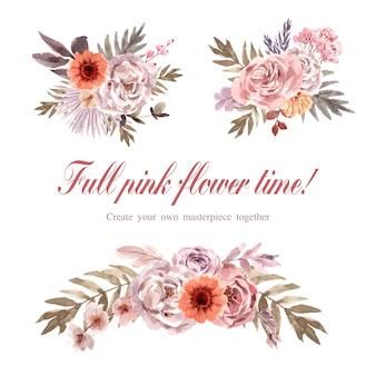 Ilustração em aquarela de buquê floral seco