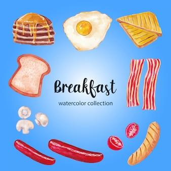 Ilustração em aquarela de café da manhã
