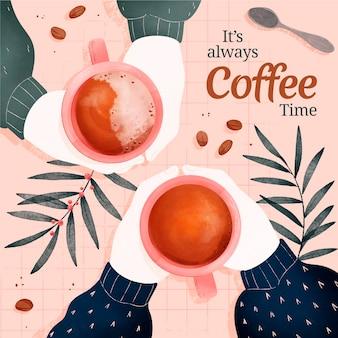 Ilustração em aquarela de café