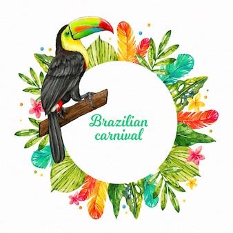 Ilustração em aquarela de carnaval brasileiro