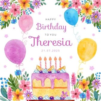 Ilustração em aquarela de cartão de aniversário