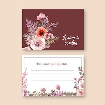 Ilustração em aquarela de cartão postal floral seca.
