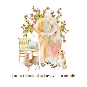 Ilustração em aquarela de casal de idosos apaixonados no jardim por um cachorro e um galo