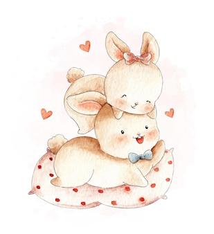 Ilustração em aquarela de casal fofo coelho