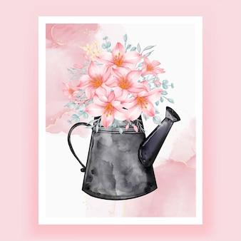 Ilustração em aquarela de chaleiras com buquês de flores lírio pêssego