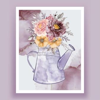 Ilustração em aquarela de chaleiras com buquês de flores rosa roxo laranja