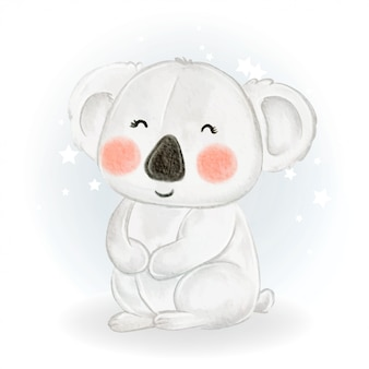 Ilustração em aquarela de coala adorável bebê fofo kawaii