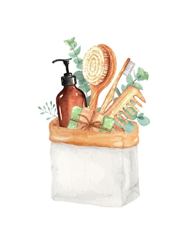 Ilustração em aquarela de coisas estéticas de banho de zero resíduos