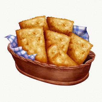 Ilustração em aquarela de comida brasileira pastel