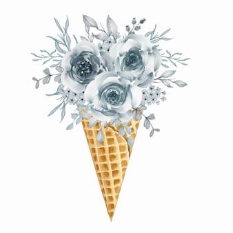 Ilustração em aquarela de cone de sorvete com buquê de flores silvestres