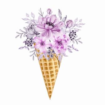 Ilustração em aquarela de cone de sorvete de buquê de flores selvagens rosa