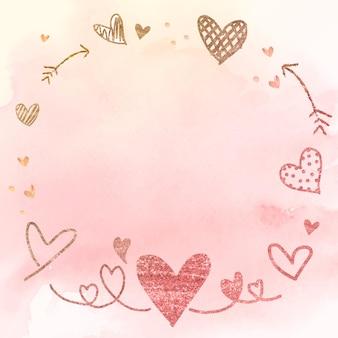 Ilustração em aquarela de coração com moldura de seta