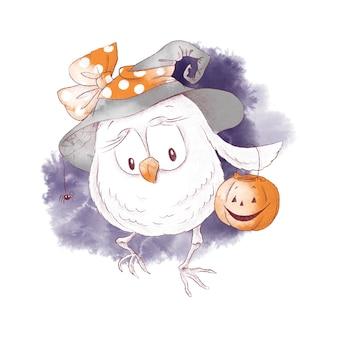 Ilustração em aquarela de coruja bruxa fofa para o halloween