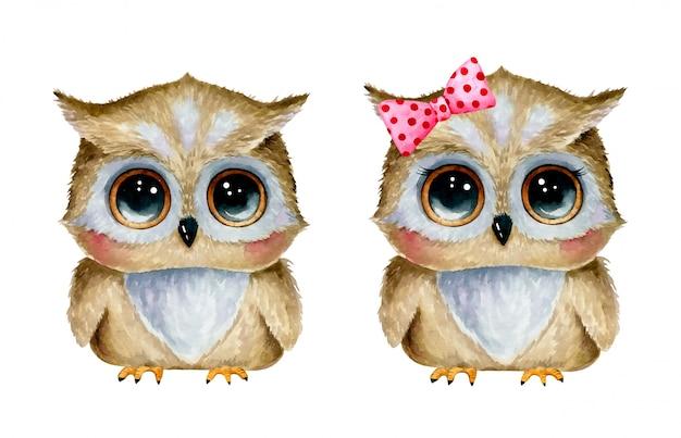 Ilustração em aquarela de corujas bonito dos desenhos animados menino e menina conjunto isolado
