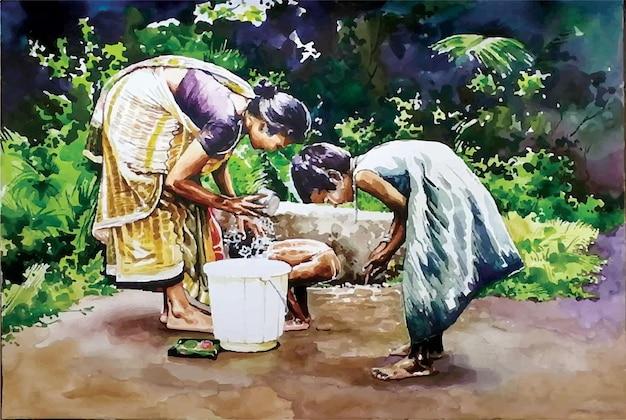 Ilustração em aquarela de crianças lavando o rosto