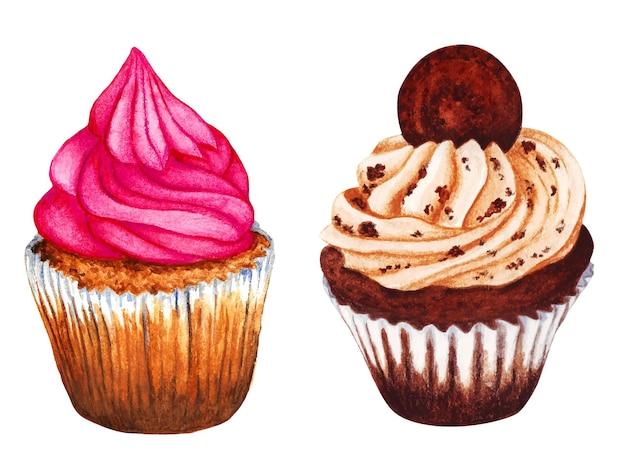 Ilustração em aquarela de cupcakes pintados à mão