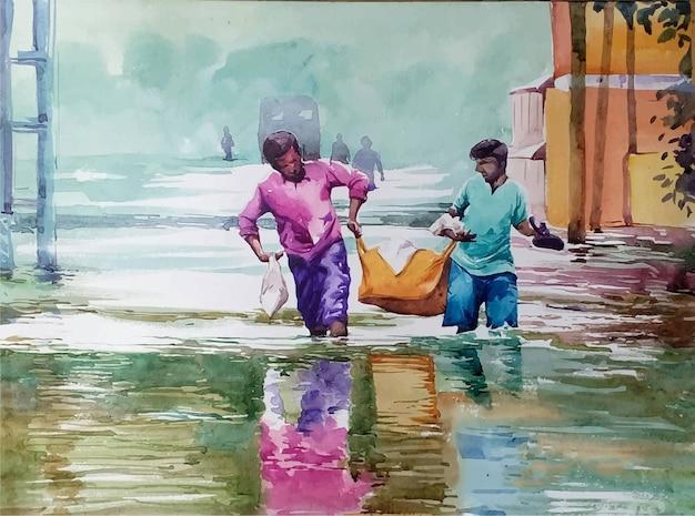 Ilustração em aquarela de duas pessoas caminhando por uma estrada inundada