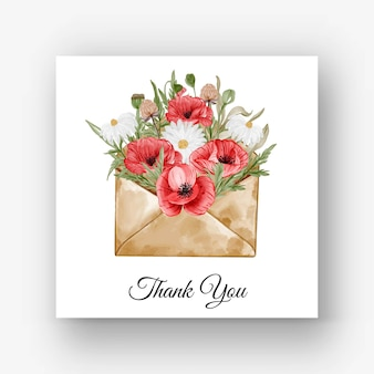 Ilustração em aquarela de flor de papoula vermelha em envelope