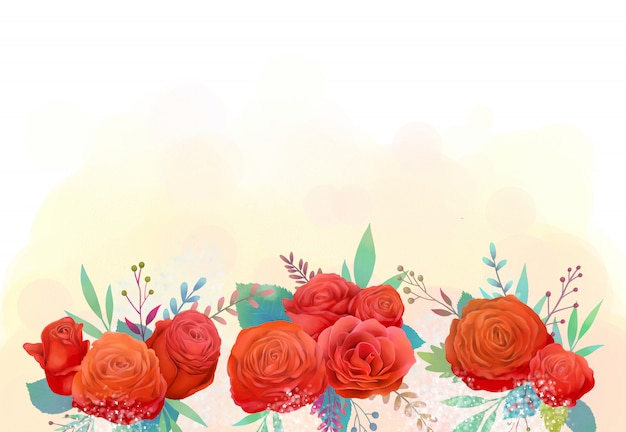 Ilustração em aquarela de flor rosa vermelha apaixonada
