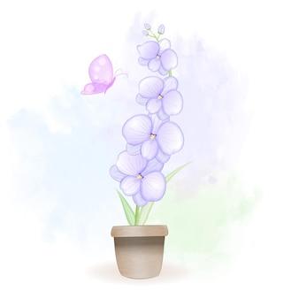 Ilustração em aquarela de flores de orquídea dentro do vaso de flores