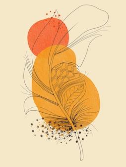 Ilustração em aquarela de folha abstrata desenhada à mão