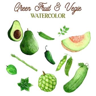 Ilustração em aquarela de frutas e vegetais verdes