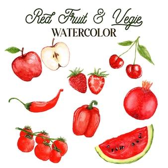Ilustração em aquarela de frutas e vegetais vermelhos