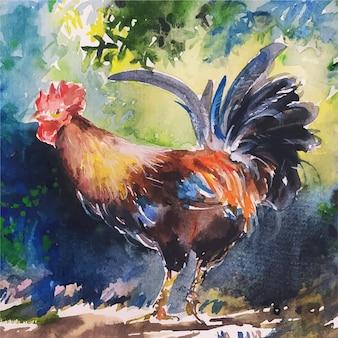 Ilustração em aquarela de galinha desenhada à mão