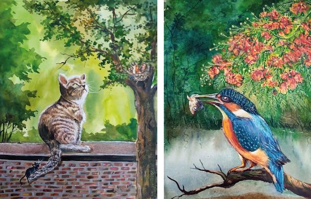 Ilustração em aquarela de gato e pássaro desenhada à mão.