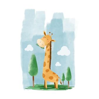 Ilustração em aquarela de girafa animal fofo
