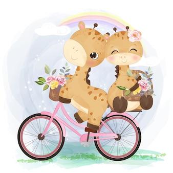 Ilustração em aquarela de girafa bebê fofo cavalgando juntos