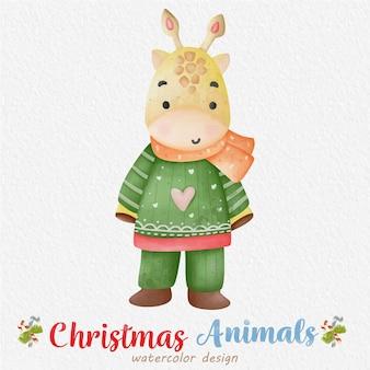 Ilustração em aquarela de girafa de natal, com um fundo de papel. para design, estampas, tecido ou plano de fundo. vetor de elemento de natal.