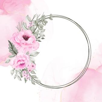 Ilustração em aquarela de grinalda de flores rosa
