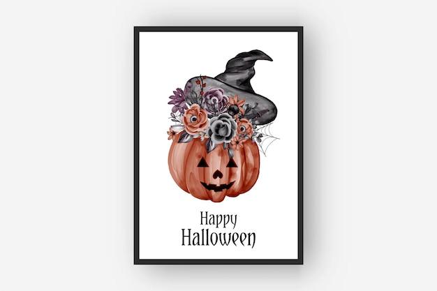 Ilustração em aquarela de halloween com arranjos de flores e chapéu