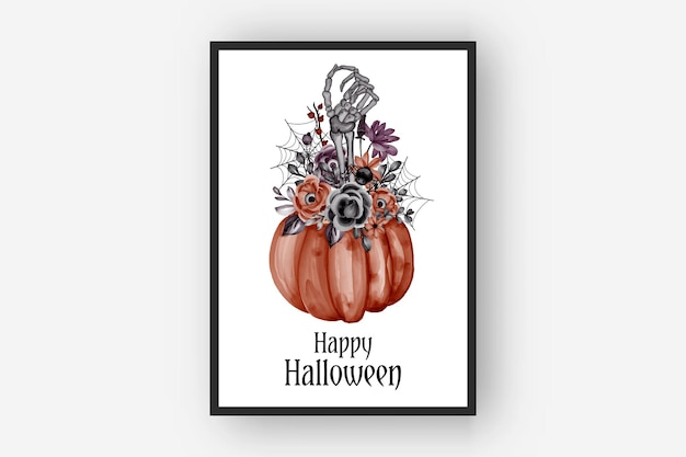 Ilustração em aquarela de halloween com arranjos de flores e ossos