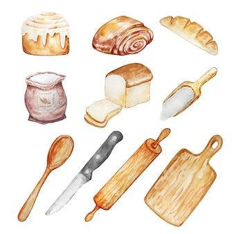 Ilustração em aquarela de itens de confeitaria, panificação e culinária - pão, bagel, tábua de cortar, rolo, colher, faca, pintados à mão.