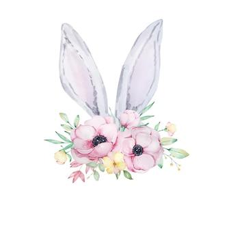 Ilustração em aquarela de lindas orelhas de coelhinho da páscoa em cinza e branco com um buquê de flores de anêmonas