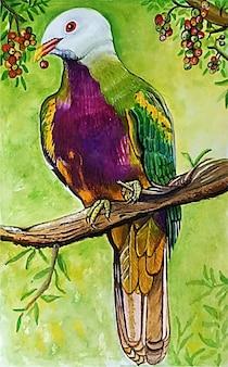 Ilustração em aquarela de lindo pássaro desenhada à mão