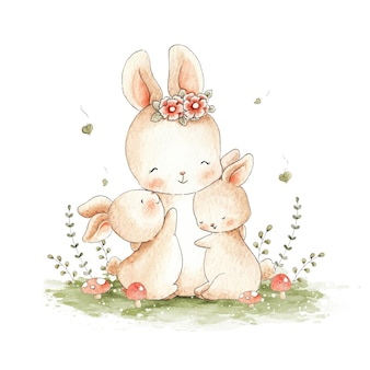 Ilustração em aquarela de mamãe coelho e seus coelhos