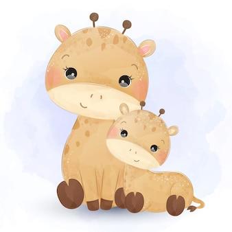 Ilustração em aquarela de maternidade girafa.