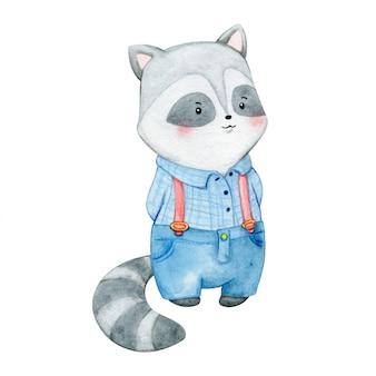 Ilustração em aquarela de menino guaxinim vestido com camisa e calça