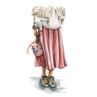 Ilustração em aquarela de moda de jovem com roupa da moda elegante. esboço desenhado de mão de aparência feminina hipster. estilo urbano de rua.