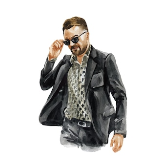 Ilustração em aquarela de moda de jovem em roupa da moda elegante. esboço desenhado de mão de olhar moderno masculino. estilo urbano de rua.