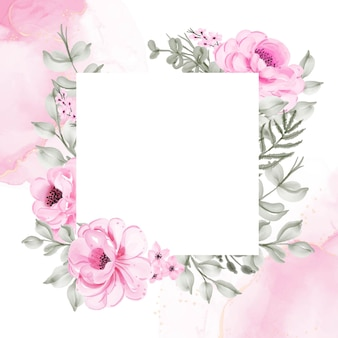 Ilustração em aquarela de moldura de flor rosa