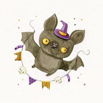Ilustração em aquarela de morcego de halloween