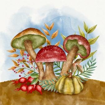 Ilustração em aquarela de outono com cogumelos
