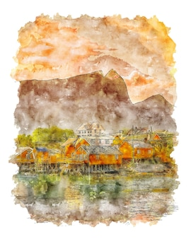 Ilustração em aquarela de paisagem da noruega