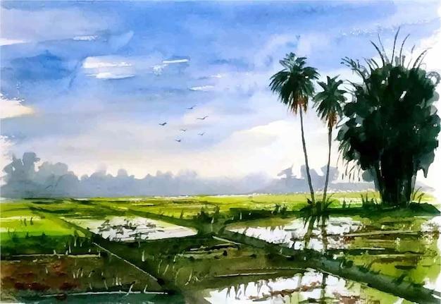 Ilustração em aquarela de paisagem natural e vida de aldeia rural desenhada à mão